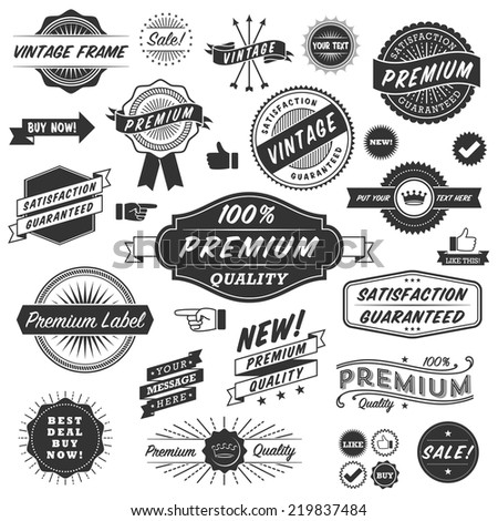 Vintage Copyspace Design Elements - Set of black and white vintage frames, banners, labels and ornaments.  Each design is grouped and colors are global for easy editing. - stock vector