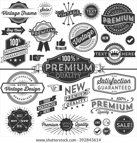 Vintage Copyspace Design Elements - Set of vintage frames, banners, labels and ornaments. Each design is grouped and colors are global for easy editing.  - stock vector