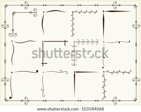 Vintage corner design elements, vector eps10 illustration - stock vector