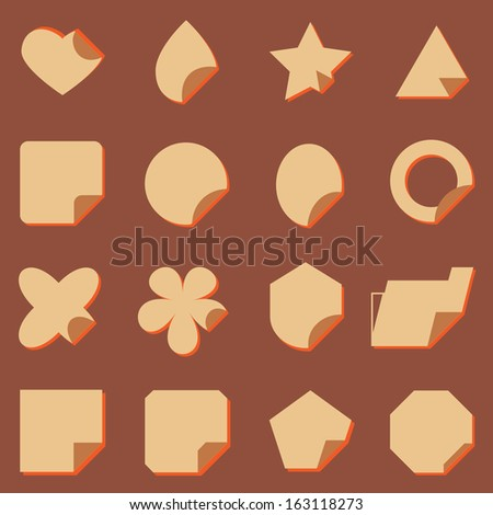 Vintage corner label icons with shadow, stock vector