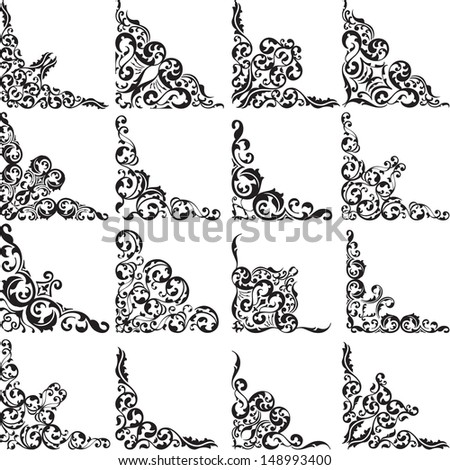 Vintage corners isolated on white - stock vector