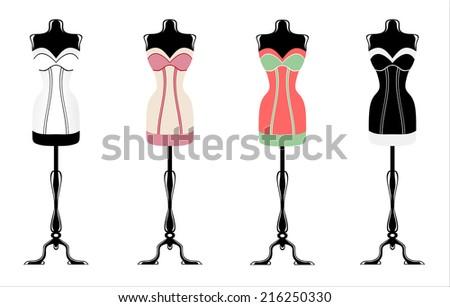 vintage corsets - stock vector