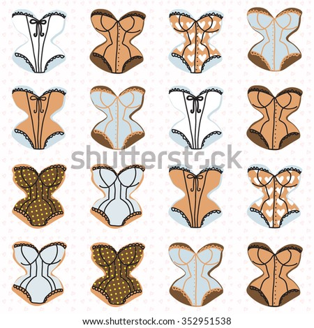 Vintage corsets pattern on the hearts background - stock vector
