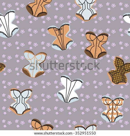 Vintage corsets seamless pattern on the flowers background - stock vector