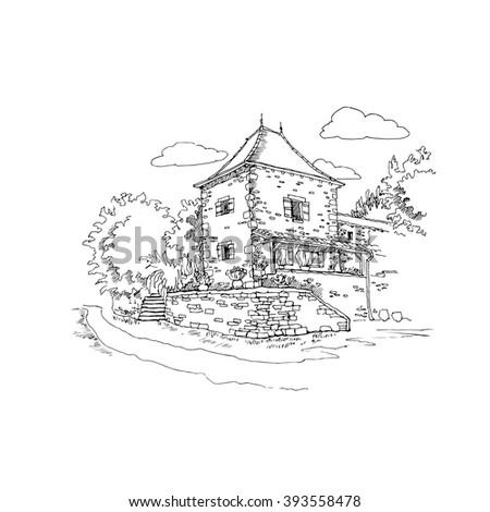vintage cottage vector hand drawn illustration - stock vector