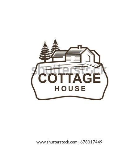 Vintage Cottage With Pine Tree Logo Design Isolated On White Background