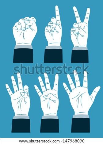 vintage counting hand - stock vector