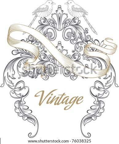 vintage cover design- best for scrapbook project - DIY- wedding invitation card - stock vector