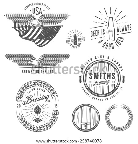 Vintage craft beer brewery emblems, labels and design elements - stock vector