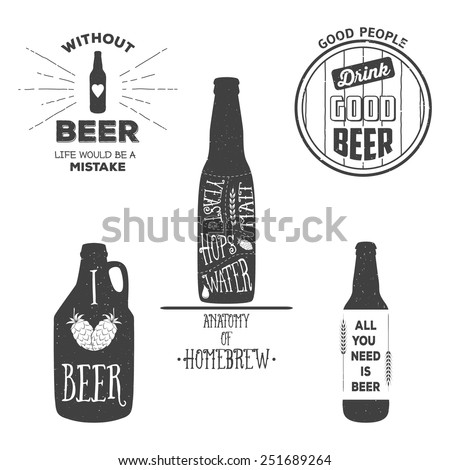 Vintage craft beer brewery emblems, labels and design elements. Vector typography illustrations. For example, it can be printed on t-shirts. - stock vector