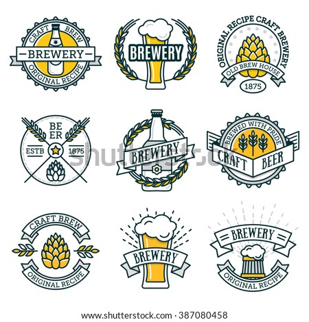 Vintage craft beer retro design elements, emblems, symbols, icons, pub labels, badges collection. Beer Business signs template, logo, brewery identity concept. - stock vector