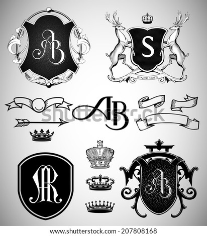 Vintage Crests, Ribbons, Monograms and Crowns Collection - stock vector