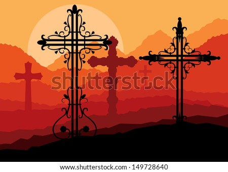 Vintage cross on a hill at sunset vector background concept landscape - stock vector