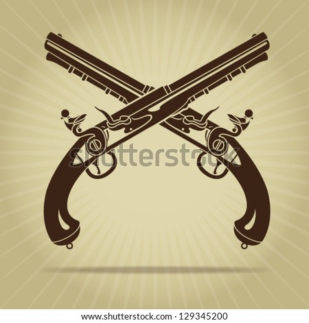 Vintage Crossed Flintlock Pistols - stock vector