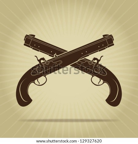Vintage Crossed Percussion Pistols Silhouettes - stock vector