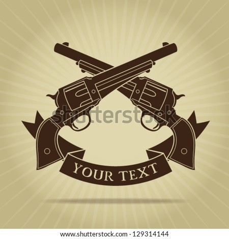 Vintage Crossed Pistols with Ribbon Silhouette - stock vector