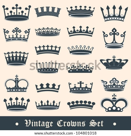 Vintage crowns set - stock vector