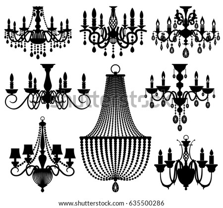 Vintage crystal chandeliers vector silhouettes isolated stock vector vintage crystal chandeliers vector silhouettes isolated on white mozeypictures Choice Image