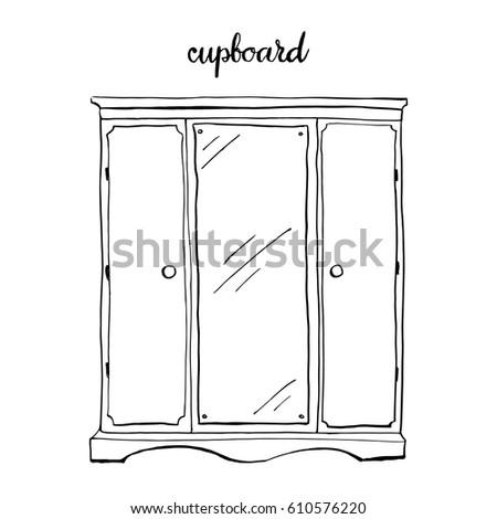 Vintage Cupboard Furniture Interior Design Elements Hand Drawn Ink Sketch Illustration Isolated