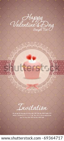 Vintage cupcake background 13 - stock vector