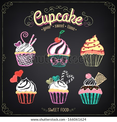 Vintage cupcake collection. freehand drawing - stock vector