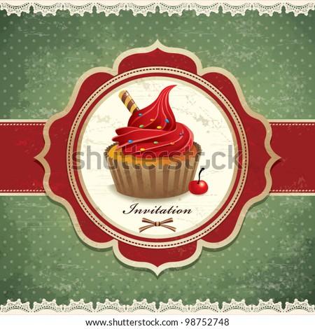 Vintage cupcake frame template (13) - stock vector