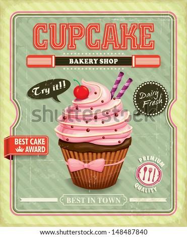Vintage cupcake poster design - stock vector