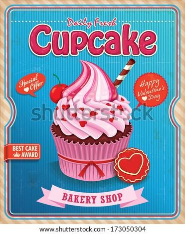 Vintage Cupcake Poster Design Stock Vector 155525441 ...