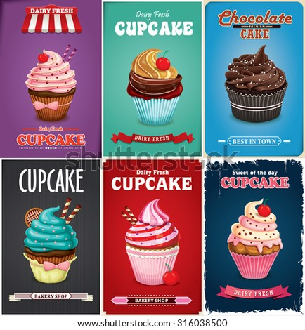 Vintage cupcake poster design set - stock vector