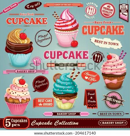 Vintage Cupcake poster set design  - stock vector