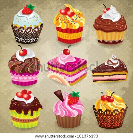 Vintage cupcake set - stock vector