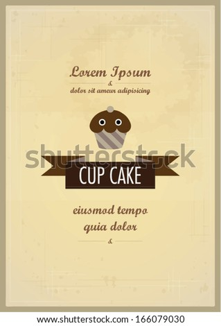 vintage cupcake template vector illustration layout stock vector, Powerpoint templates