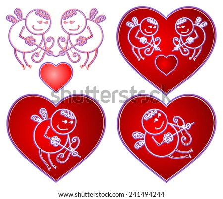 Vintage Cupid in red heart  love Valentine's Day for valentines card colored vector  - stock vector