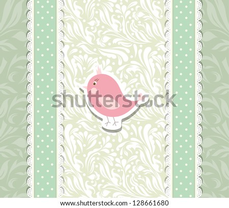 Vintage cute art baby background for invitation,anniversary, backdrop, card, new year brochure, banner, border, wallpaper, template,  illustration, texture vector eps 10 - stock vector