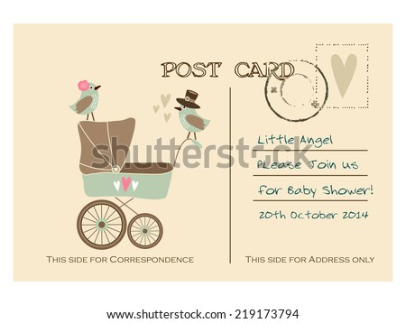 Vintage cute baby shower greeting postcard, invitation with baby carriage and birds, hand drawn vector illustration background - stock vector