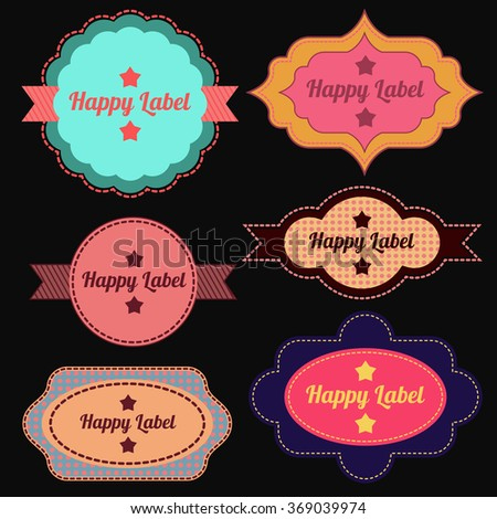 Vintage cute labels vector set for decoration and design