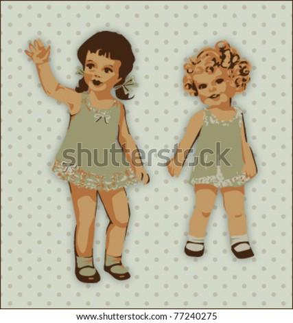 VINTAGE CUTE LITTLE GIRLS. Vector illustration file. - stock vector