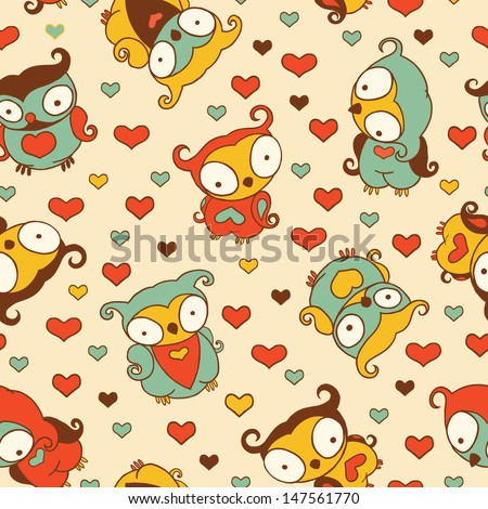 Vintage Cute Owls Seamless Pattern.Copy that square to the side and you'll get seamlessly tiling pattern which gives the resulting image ability to be repeated or tiled without visible seams.  - stock vector