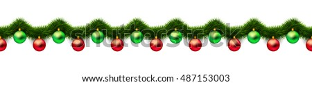 Vintage 3D abstract vector christmas decoration isolated on white background. Red and green xmas holiday ornaments and green tinsel isolated on white. Winter holiday repeating border, seamless pattern