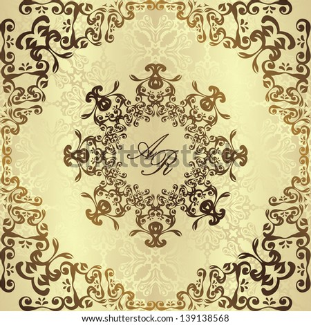 Vintage damask background with floral decoration. Wedding invitation