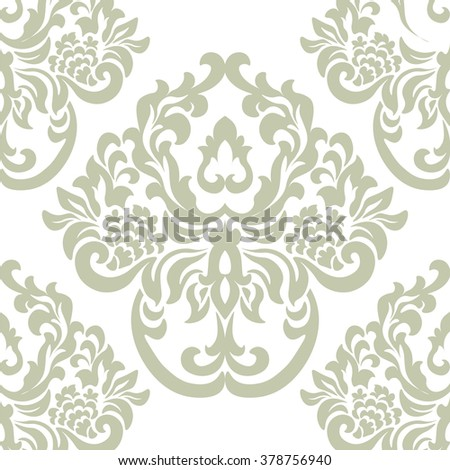 Vintage Damask Royal ornament pattern element. Luxury texture for wallpapers, fabric, textile, design, wedding invitations, greeting cards, background, cards. Green colors. Vector - stock vector