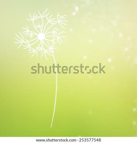vintage dandelion flower on blurred natural background - stock vector