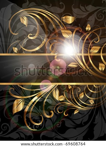 Vintage dark golden card with seamless ornament at background and sun shine. eps 10 - stock vector