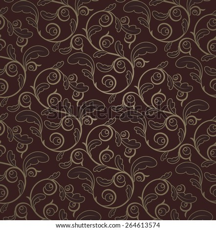 Vintage Dark Red And Gold Seamless Floral Pattern With Clipping Mask - stock vector