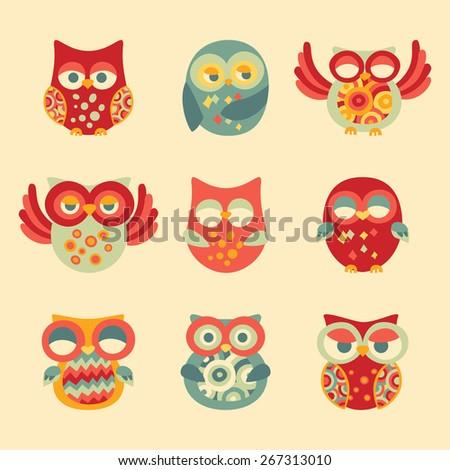 Vintage Decor Owl Set. Vector Illustration of Nine Cute Owls - stock vector