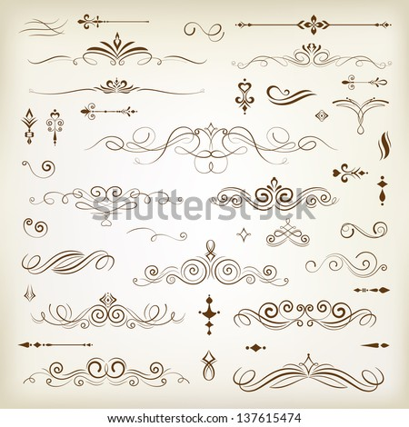 Vintage decoration design elements with page decor - stock vector