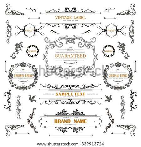 Vintage decorations curl elements.Classical calligraphic ornaments,frames,vignette,labels.Elegant Style Design Collection for greeting,Invitations, Banners,Posters,Badges,Logotypes and so on - stock vector