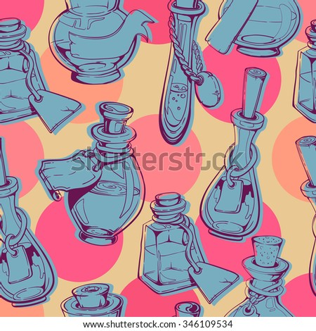 vintage decorative bottles and glasses arranged in lines sketch hand drawings, seamless pattern, on funny dots background