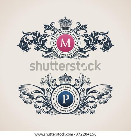Vintage Decorative Elements Flourishes Calligraphic Ornament. Letter M, P. Elegant emblem template monogram luxury frames. Royal line logo. Vector sign for restaurant, boutique, heraldic, cafe, hotel - stock vector