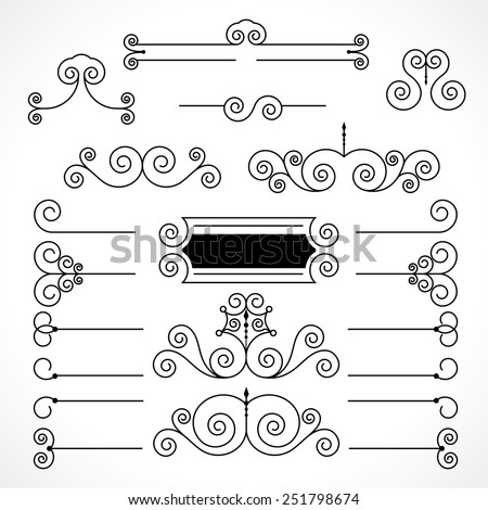 vintage decorative elements in calligraphic style. frame, dividing lines and patterns - stock vector